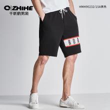 千紙鶴男士運動褲男2019夏季新款時尚潮流印花休閑五分短褲 90232