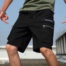 芃拉新款男裝工裝褲男拉鏈裝飾三色工裝短褲潮牌五分褲褲子男韓版潮流ZY8212