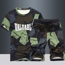 戰地吉普 夏季新款寬松休閑迷彩短袖套裝時尚字母印花T恤+五分褲兩件套男