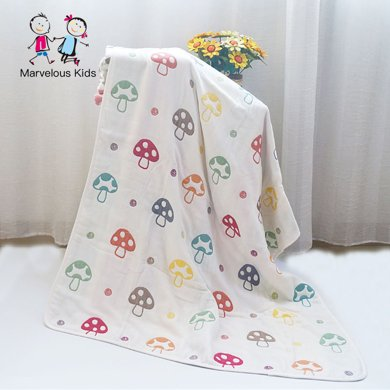 Marvelous kids 嬰幼兒6層紗布蘑菇紗布蓋毯包被多功能毯子