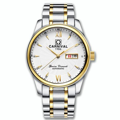 嘉年华手表男正品机械表精钢表带全自动双日历商务简约款防水腕表