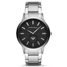 阿瑪尼(EmporioArmani)手表 鋼制表帶 男士商務時尚旋轉LOGO石英表男士腕表 AR11118