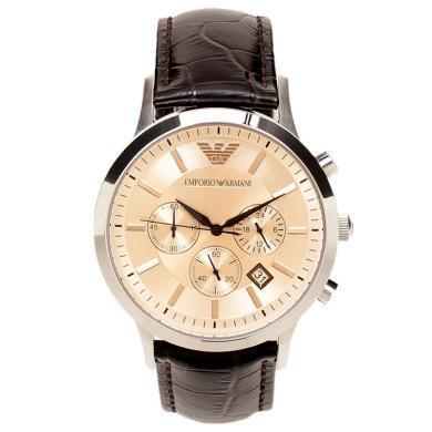 阿瑪尼(Emporio Armani)手表皮質表帶時尚休閑簡約石英男士腕表AR2433
