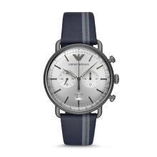 阿瑪尼( Emporio Armani )手表 商務休閑時尚花紋皮質表帶男士石英腕表 AR11202