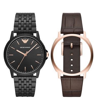 阿瑪尼(Emporio Armani)手表 男士石英腕表皮質表帶 AR80021