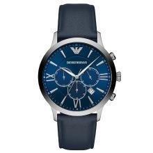 阿玛尼(Emporio Armani )新款蓝色多功能三表盘男表 钢带腕表AR11226