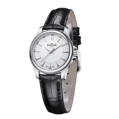 【支持購物卡】瑞士迪沃斯DAVOSA女表皮表帶精鋼時尚簡約女士石英表16755615