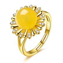 金兴福 太阳花系列银镶天然琥珀蜜蜡戒指(附证书)