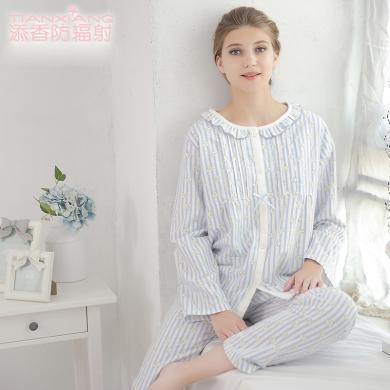 添香春秋月子服加厚純棉絨布孕婦睡衣產婦哺乳睡衣孕婦家居服套裝