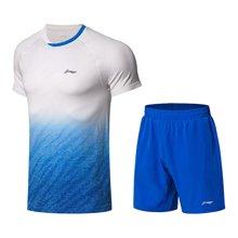 李宁羽毛球比赛套装男士新款透气一体织男装运动服AATN059