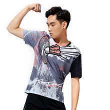 Kawasaki/川崎 2019年新款羽毛球运动服男女情侣短袖 V领T恤速干
