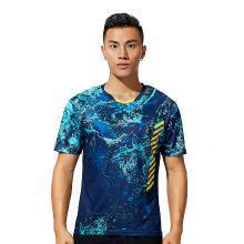 Kawasaki/川崎 2019年新款羽毛球运动服男女情侣短袖 V领T恤