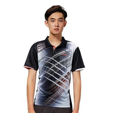 Kawasaki/川崎 2019年新款羽毛球運動服男女情侶短袖 翻領T恤