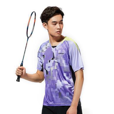 Kawasaki/川崎 2019年春夏新款羽毛球運動服男女短袖 V領T恤速干