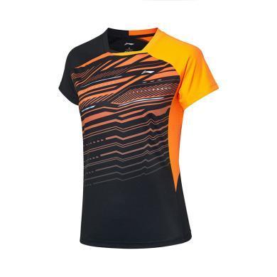 李寧羽毛球比賽服女士2019新款羽毛球系列速干T恤女裝針織短袖女AAYP136