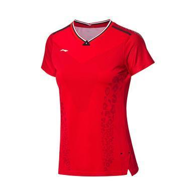 李寧羽毛球比賽服女士2019新款速干一體織透氣上衣女裝針織運動服AAYP102