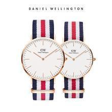 丹尼尔惠灵顿(Daniel Wellington)CLASSIC白表盘织纹石英情侣手表一对 dw官方正品简约时尚休闲男女手表套装