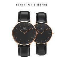 丹尼尔惠灵顿(Daniel Wellington)CLASSIC黑表盘皮带石英情侣手表一对 dw官方正品简约时尚休闲男女手表套装