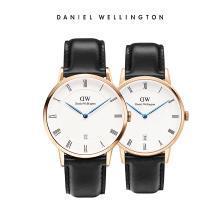 丹尼尔惠灵顿(Daniel Wellington)DAPPER蓝针日历皮带石英情侣手表一对 dw官方正品简约时尚休闲男女手表套装
