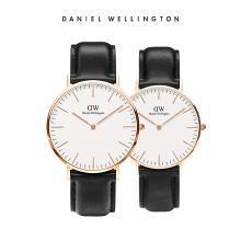 丹尼尔惠灵顿(Daniel Wellington)CLASSIC白表盘皮带石英情侣手表一对 dw官方正品简约时尚休闲男女手表套装