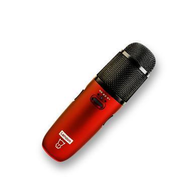 聯想UM6全民K歌麥克風定制版話筒一體手機全能唱吧神器帶聲卡唱歌錄音 紅色