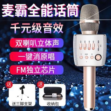 屁顛蟲x35全民K歌麥克風唱歌吧錄音外放音響話筒藍牙無線AI一體麥雙喇叭立體聲 香檳金色