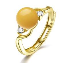 金兴福 简约 S925银镶琥珀蜜蜡开口戒指(附证书)