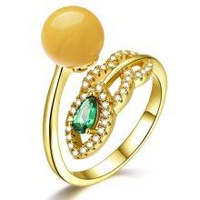 金兴福 时尚名媛 S925银镶琥珀蜜蜡戒指(附证书)