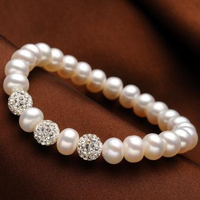 风下Hrfly   AAAA级8-9mm手链 水晶珍珠手链 单排强光无瑕手链  附高档包装