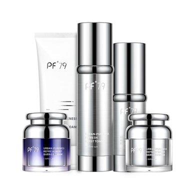 PF79城市淸素護膚五件套 補水滋潤護膚套裝(潔面乳+保濕水+精華+面霜*2)