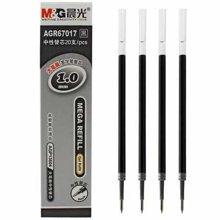 晨光文具大笔画1.0mm子弹头中性签字水笔芯替芯黑色AGR67017
