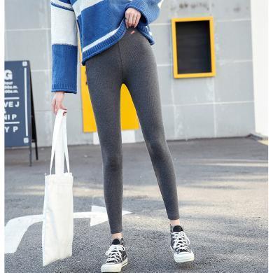 摩登孕媽 春秋裝新款棉螺紋豎條高腰九分打底褲女外穿百搭顯瘦緊身小腳褲