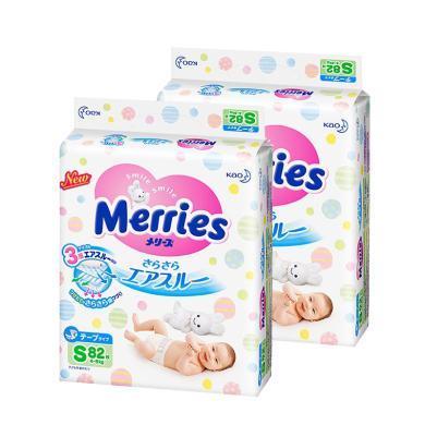 【2包裝】【日本】Merries花王紙尿褲S82片(4-8kg寶寶)