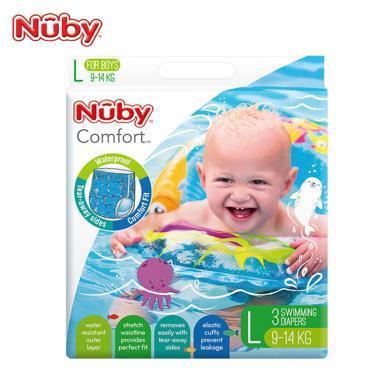 努比(Nuby) 婴儿纸尿裤 ?#20449;?#23453;宝游泳纸尿裤 儿童尿不湿 拉拉裤 L XL 防水防漏 美国品牌 男宝-L码游泳裤3片装(9-14KG )