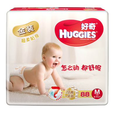 好奇金装婴儿纸尿裤M码(88片)