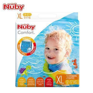努比(Nuby) 婴儿纸尿裤 ?#20449;?#23453;宝游泳纸尿裤 儿童尿不湿 拉拉裤 L XL 防水防漏 美国品牌 男宝-XL码游泳裤3片装(12-17KG )