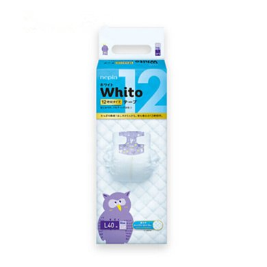 妮飘(Nepia)Whito12小时夜用纸尿裤 L码40片 日本进口