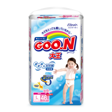 日本进口大王维E短裤式尿不湿拉拉裤女宝L46片