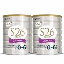 【支持购物卡】【2罐装】新西兰S-26惠氏金婴幼儿奶粉1段(0-6个月)900g/罐*2 (澳洲直邮)(新旧随机发)