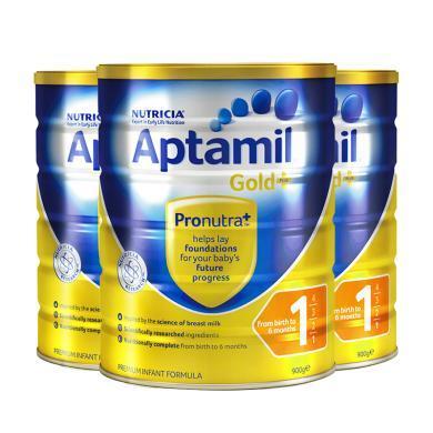 3罐*澳洲愛他美 金裝版1段奶粉(0-6個月)900g/罐 澳洲直郵