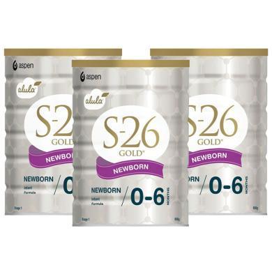 【支持购物卡】3罐*新西兰惠氏S-26金装奶粉 1段 900g  澳洲直邮