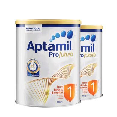 【2罐】澳洲Aptamil爱他美白金版1段奶粉(0-6个月)900g/罐