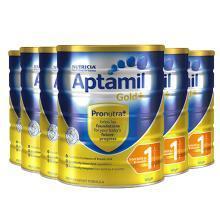 【支持购物卡】【6罐】澳洲Aptamil爱他美金装加强1段 婴幼儿奶粉 进口奶粉(0-6个月宝宝) 900g/罐