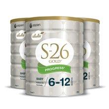 3罐*澳洲Wyeth惠氏S-26金装2段婴儿奶粉 6-12个月 900g新旧版随机发货【澳洲空运直邮】