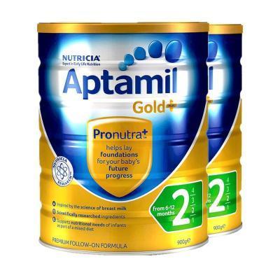 【2罐】澳洲Aptamil愛他美金裝2段奶粉(6-12個月)900g/罐 香港直郵