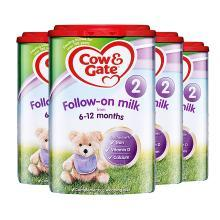 4罐*英国牛栏 Cow&Gate 2段奶粉(6-12个月)900g/罐 海外直邮