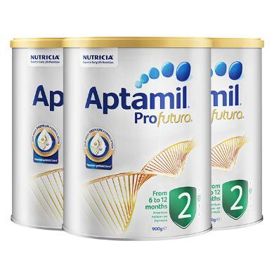 【支持购物卡】3罐*澳洲 爱他美白金版 Aptamil 新包装奶粉 2段 6-12个月 900g/罐 【澳洲直邮】