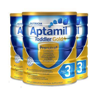 【支持购物卡】3罐*澳洲爱他美 Aptamil 奶粉金装 3段 1岁以上 900g/罐 澳洲直邮