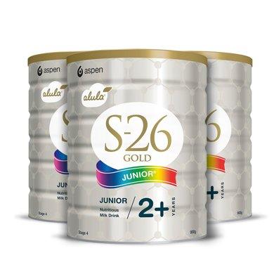 3罐*澳洲Wyeth惠氏S-26金裝4段嬰兒奶粉 2周歲以上 900g新舊版隨機發貨【澳洲空運直郵】