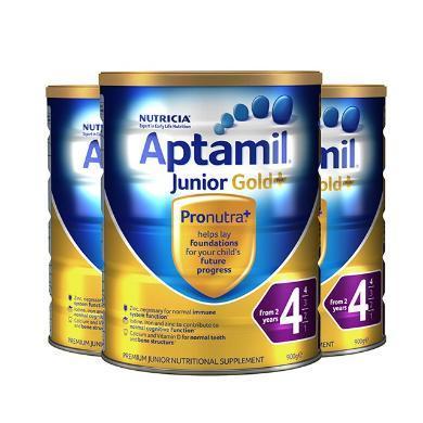 【支持购物卡】3罐*澳大利亚 爱他美 Aptamil 奶粉金装  4段 2岁以上 900g/罐 澳洲直邮